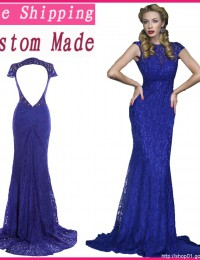 Actual Images Formal Turquoise Purple Cap Sleeves Lace Evening Gowns Mermaid Long dress women Party Satin EV1060