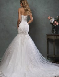 Mermaid Wedding Dresses 2016 Strapless Sexy Vintage Wedding Dress Appliques Vestido De Noiva Sereia Robe De Mariage W0409G