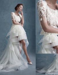 Fashionable Scoop Short Sleeve Appliques Romantic Short Front Back Long See Through Lace Wedding Dress 2015 Robe De Mariage MK-9