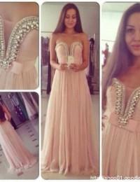 Real Sample Vestidos De Renda Custom Made Pink With Crystal Prom Dresses Women Evening Dresses Chiffon VC170
