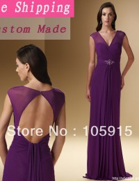 Free Shipping Purple See Through Mother of the Bride Dresses Cap Sleeves Open Back With Soutach Chiffon  MA2349