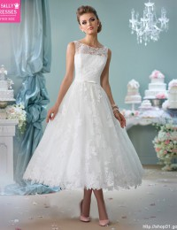 Mid-Calf Lace Wedding Dresses White Vestido De Noiva Curto With Sash Wedding Gowns Robe De Mariee 2016 Sexy Custom Made W1123E