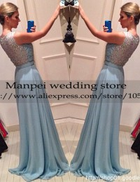 2015 Fashionable Design Sexy A-Line Blue Scoop Sleeveless Lace Long See Through Prom Evening Dresses Vestidos de Fiesta MF-19