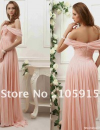 SM-69 Charming Pink Off-shoulder A-line Long Split Handmade Flower Sleeveless Floor-length Lace Prom Dresses