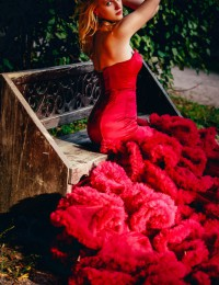 Red Mermaid Wedding Dresses Sweetheart Chapel Train Photography Wedding Gowns Tiered Ruffles Vestido De Noiva 2016 Sexy PH-36