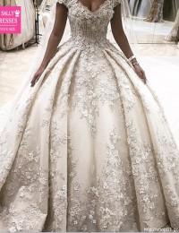 Robe De Mariage Ball Gown Luxury Wedding Dresses Flowers Appliques Lace Wedding Gowns Vestido De Noiva 2016 Elegant Beaded WN-1