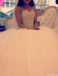 2016 Ball Gown Wedding Dresses Princess Lace Up Beading Lunxury Puffy Wedding Gowns Robe De Mariage Tulle Bride Dresses W5877B