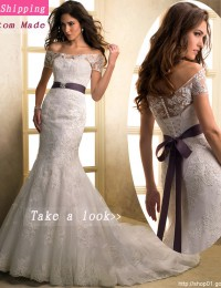 Free Shipping Ivory/White Sweetheart Bow Sash Lace Up Strapless Sleeveless Custom Wedding Dress Mermaid Bride Wedding Gowns MH14