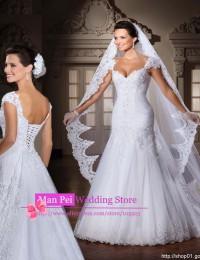 Stunning Vintage White Sweetheart With Cap Sleeves Beaded Pleat Lace Up Mermaid Lace Wedding Dresses Vestido De Renda 2015 MF275
