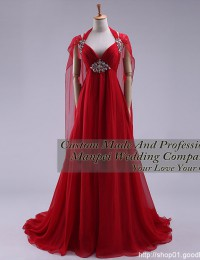 Real Samples Red Long Prom Dresses With Crystal Empire Party Evening Dresses Masquerade Gowns Pleated Chiffon YL436
