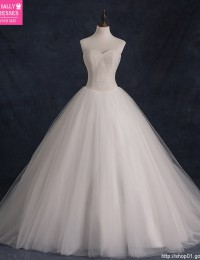 2015 New Custom Made Real Sample Tulle With Pearls Sweetheart Open Back Ball Gown Big Train Wedding Dresses Bridal Gowns