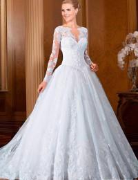 New Long Sleeve Lace Vintage Wedding Dress 2015 Hot Sale Sweetangel See Through Wedding Dresses Vestido De Noiva Casamento BW-22