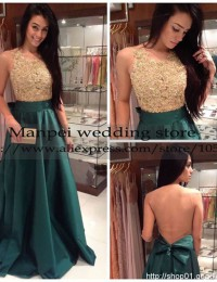 New Fashion Sexy A-Line Green Scoop Sleeveless Lace See Through Back With Bow Sash Long Evening Prom Part Dresses 2015 MF-21