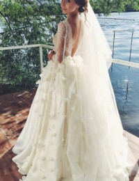 2016 A-Line Vintage Lace Wedding Dresses 3/4 Sleeve Sexy Backless Bridal Dresses Vestido De Noiva Robe De Mariee Flowers W1150