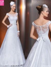 A-Line See Through Lace Vintage Wedding Dress Beaded With Sash Vestido De Noiva 2015 Bride Dresses Robe De Mariage BW-35