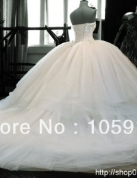 2014 Real Sample Luxury Corset Strapless White Crystal And Beads Long Cathedral Train Ball Gown Wedding Dresses Organza AL-04