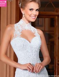 High Neck Sheer Mermaid Wedding Dresses Lace Wedding Dress 2015 Hot Sale Sweetangel Robe De Margage Vestido De Noiva BW-17