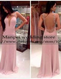 2015 Hot & Sexy A-Line Pink Scoop Sleeveless See Through Back Beaded Prom Dress Party Evening Elegant Vestidos de Fiesta MF-20