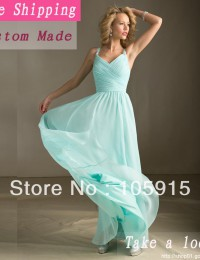 Hot Sale Mint Green Long Chiffon Spaghetti Straps Ruched Bridesmiad Dresses Free Shipping BN1046