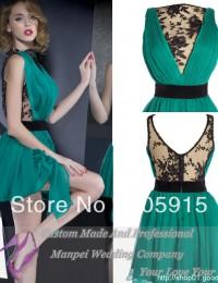 2014 Dynamic Sexy See Through Lace Short Fashion Cocktail Dresses Prom Dresses Chiffon VC-34