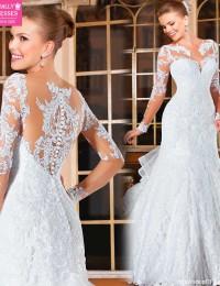 Fancy Mermaid Wedding Dresses Vintage Wedding Dress 2015 Hot Sale Sweetangel See Through Wedding Dresses Robe De Mariage BW-23
