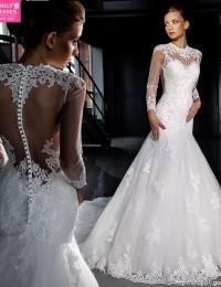 Vestido De Noiva Mermaid Wedding Dresses Long Sleeve Lace Wedding Dress See Through Wedding Dress 2015 Hot Sale Sweetangel MS39