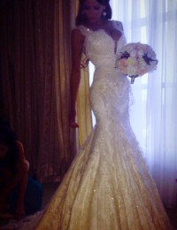 2015 Real Sample Custom Made Sexy With Cap Sleeves Lace Pearls Beads Mermaid Charming Wedding Dresses Bridal Gowns Satin VC-72