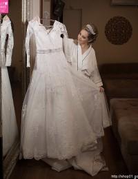Long Sleeve Muslim Wedding Dresses 2016 Button Back Beading Sash Lace Wedding Dresses Robe De Mariee China Online Shop W1124C