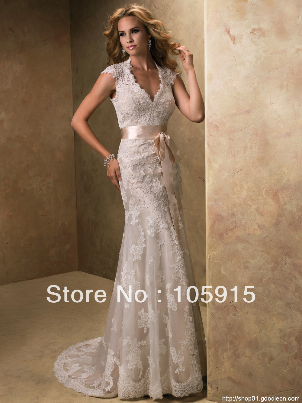 2014 Aulic Custom Made Ivory Crystal Scoop High-Low Bow Sash Sheath Lace and See Through Wedding Dress Bride Wedding Gowns SV21