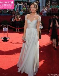 2015 Hot & Sexy Custom Made Chiffon Ivory And Silver Gray Short Sleeve Oscar Prom Party Dress Celebrity Red Carpet Dress HL-1