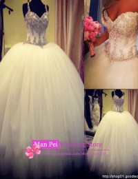 Real Sample Vestido De Csamento Sweetheart Spaghetti Straps Beading Crystals Lace Up Big Ball Gown Wedding Dresses 2014 MF186