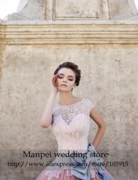 2015 vintage Elegant Luxury Ball Gown Scoop Cap Sleeves Bow Sash Sheer Pink Lace Beaded  Wedding Dress Bridal Gown MFW-1
