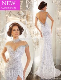 Sexy Custom Made Mermaid High Neck Sequins and Crystals High Slit Open Back Short  Sleeves Long Prom Evening Dresses Gowns 2014
