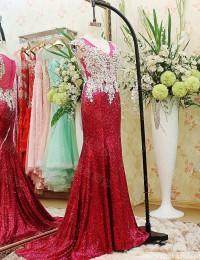 Vestido de Festa Real Photo Noble Mermaid V-Neck Sleeveless See Through Back Beaded Lace Long Sequined Prom Dresses 2014 MF033