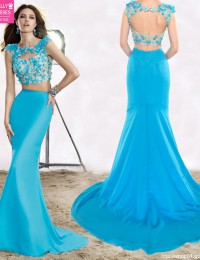 Backless Sexy Sheer Appliques Dress Party Evening Elegant Long Evening Dress Two Piece Prom Dresses 2015 Vestido De Festa BP07