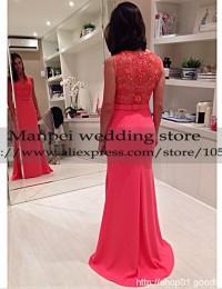 2015 Vestido de Festa New Mermaid Scoop Sleeveless Red Long Beading See Through With Sash Prom Dress Party Evening Elegant MF-17