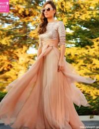 Champagne Sequined A-Line Hlaf Sleeve Long Evening Dress Prom Gowns Party Dresses Robe De Soiree Vestido De Festa Longo E122431