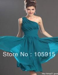 Elegant Turquoise Kimono A-Line Knee-Length Ruffles Short Prom Evening Dresses Party Dress Girl's Dresses Chiffon XH09
