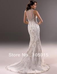 2014 Exquisite Hot Ivory Crystal Deep V-Neck Mermaid See Through Embroidered Wedding Dresses Bride Wedding Dress Satin SV13