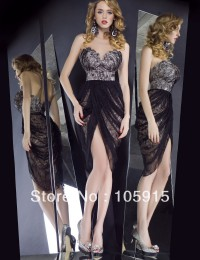 New Design Fashion Sweetheart Sexy With Beads Lace Short Knee Length Cocktail Dresses Prom Dresses Satin VC-33