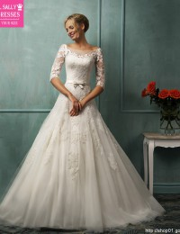 Unique A-Line Vintage Wedding Dress Half Sleeve Lace Wedding Gowns Backless Sexy Robe De Mariage With Sash Chapel Train W0409L