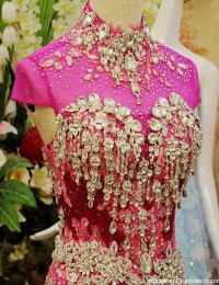 Stunning Mermaid High-Neck Short Sleeves Lace Beaded Long Sequined Lace Up Dress Party Evening Elegant Prom Dresses 2014 MF038