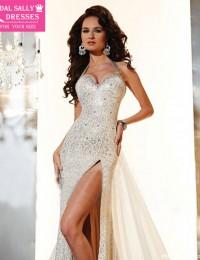 2015 Vestidos de Festa Vestido Longo Mermaid Halter Lace Beaded With Train Side Slit Long Prom Dress Party Evening Elegant MF-45