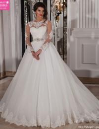 See Through Sexy Long Sleeve Lace Wedding Dress Vestido De Noiva Casamento Robe De Mariage 2015 Romantic Wedding Dresses MM02