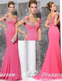 Vestidos De Fiesta Custom Made Elegant Pink Applique With Beads Mermaid Prom Party Dresses Women Evening Dresses Satin LB07