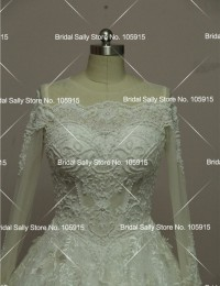 Lace Wedding Dress 2016 Luxury Beading Long Sleeve Muslim Wedding Gowns With Long Train Off Shoulder Vestidos De Noiva W2016
