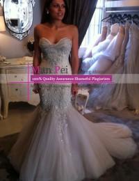 Vestidos De Novia New Vintage Sweetheart Strapless Criss-Cross Sleeveless Beading Long Lace Mermaid Wedding Dresses 2015 MH510