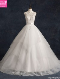 2015 Vestido de Noiva Renda White A-Line Scoop Sleeveless Long Lace See Through Beading Sash Tiered Sexy Wedding Dresses MF-196