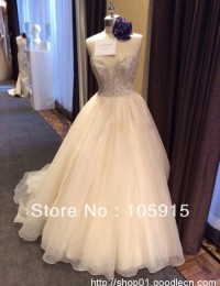 Real Sample Charming Sweetheart Ivory Lace Wedding Dresses With Beads Princess Bridal Gowns Tulle MH-102