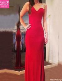 2015 New Fashion Mermaid Women Wedding Party Dress Sheer Back Sweetheart Crystal Beaded Red Chiffon Long Prom Dresses MP-7